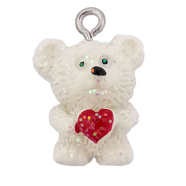 Acrylic White Bear with Red Glitter Heart Charm 15mm x 18mm